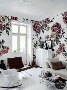 Watercolor flower bouquet wall mural,  Removable wallpaper, Ink painting,  Floral wallpaper,  Retro, vintage style wall art  #41