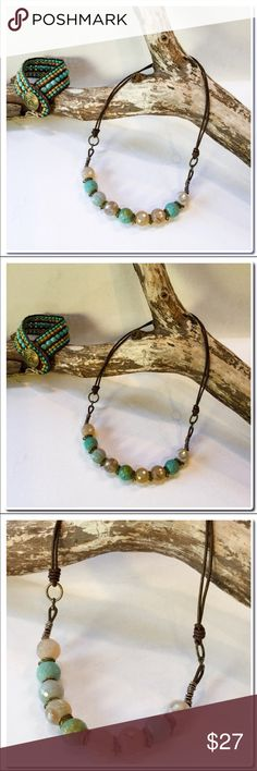 """Handmade Necklace with Leather and Beads Handmade Necklace with Leather Cord - Imperial faceted Jasper Beads strung onto brown leather accented with brass-tone jump rings- Finished Size is 18 1/2"""" - Handmade Jewelry price firm unless bundled. Handmade Jewelry Necklaces"""