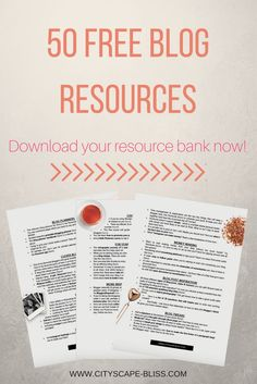 50 free blog resources to improve your blog. Boost your blog traffic and start making money from your blog. Free blog planners, free blog templates, free blog tips & tricks. Blog resource library. Downloadable blog worksheets. Cityscape Bliss // Blog cheat sheet, improve your blog Make Money Blogging, How To Make Money, Blogging Ideas, Blog Templates Free, Blog Images, Blog Planner, Free Blog, Writing Skills, Blogging For Beginners