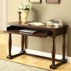 Function as a writing desk or lap top desk Solid wood construction with birch veneers Antique bronze finish hardware Single drawer with drop down front storage or converts to use with keyboard Ball bearing steel glider on drawers Recessed wire management on back of the drawer Espresso finish Assembly required