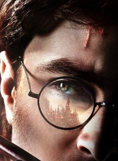 Hogwarts reflected in Harry's glasses.