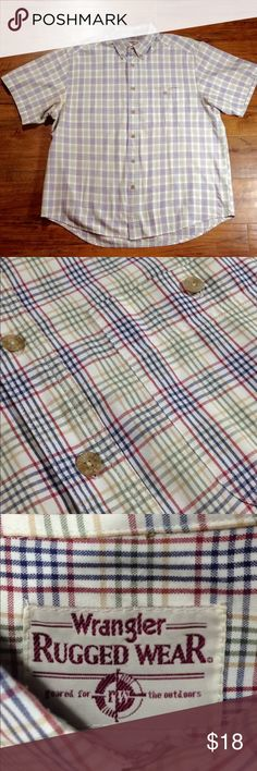 "Men's Wrangler Rugged Wear Button Up Shirt Sleeve Wrangler Rugged Wear, very good used condition!  Plaid pattern with red, blue, green, yellow on a white background. The size tag isn't visible but I am almost sure this is a size XL, possibly XL Tall.  Please refer to my measurements below :)  Flat Lay Measurements: Armpit to Armpit approx 25.5"" Shoulder to Hem approx 29.5""  Comes from a smoke free FAST SHIPPER!  📦 Wrangler Shirts Casual Button Down Shirts"