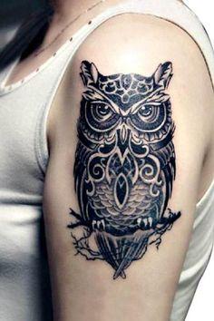 Large Realistic Black OWL Temporary Tattoo Body Art