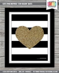 Stripes & Glitter Heart 8.5x11 WALL Art by EverythingSorted, $7.00