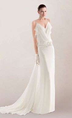 Vogue Spaghetti Column Bridal Dress in White Chiffon with Beaded Motifs and Open Back