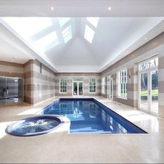 Modern indoor pool. See the entire house at www.PriceyPads.com #indoorpool #pool #architecture #luxury #style #design #uk
