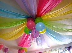 Sort of like this, except where the balloons are, will be our light fixture. Follow the colors, they will go around the line of the fixture, and come out the other side, I hope. I got six yards of 3 colors, hope it's enough, it fairly wide?