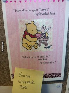That's not an excuse, Pooh Bear