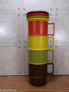 Vintage Tupperware Harvest Stackable Cups Mugs Lids/Coasters.