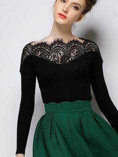 So Pretty! Love the Lace! Sexy Black Lace Contrast Top Long Sleeve T-shirt