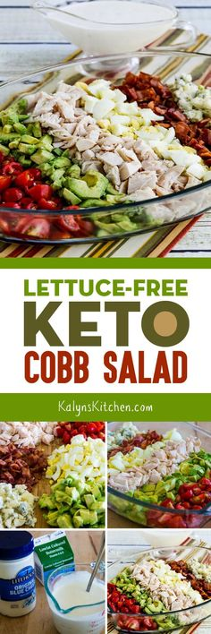 Lettuce-Free Keto Cobb Salad Has All The Cobb Salad Ingredients You Love Without The Lettuce. We Thinned The Blue Cheese Dressing With Some Buttermilk But If You're Eating Keto You Can Use Cream Or Half And Half If You Prefer. Found On Ketosalad Ketogenic Recipes, Low Carb Recipes, Diet Recipes, Diabetic Recipes, Recipies, Cobb Salad Ingredients, Healthy Salad Recipes, Vegan, Healthy Recipes