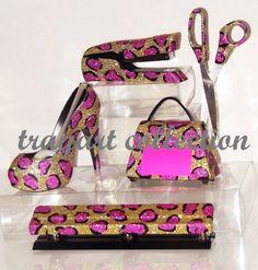 Pink Gold Leopard Office Set, Stapler, Scissors, High Heel Tape Dispenser,  Purse