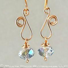 Sapphire Swarovski crystal earring with copper wire swirl .1187 | MartieRocco - Jewelry on ArtFire