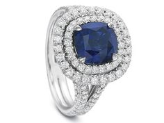 Sapphire in double halo and split shank mounting.  By Precision Set.  Available at Alson Jewelers.