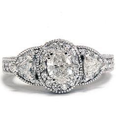 VS 1.57CT OVAL FANCY DIAMOND ENGAGEMENT RING VINTAGE ANTIQUE HAND ENGRAVED 14K