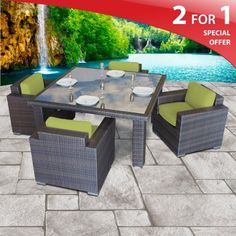"Neptune Dining Set - 4 Deep Seating Modern Chairs - Peridot by TK Classics. $1666.00. All-Weather Materials. Full sized furniture to ensure your comfort. Thick Welted Cushions. Powder Coated Finish Aluminum. (1) Neptune Dining Set - 4 Chairs Sand- Chair - 24""W x 25""D x 35""H. 4 for 1 Special: All Sets Come in a Beautiful Neutral UV Protected Outdoor Fabric with Espresso Wicker. PLUS a FREE Set of Cushion Covers in the Color of Your Choice to satisfy your creative ..."