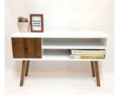 Mid-Century Scandinavian Console Table, Media Console, Media Center, Solid Wood, Mid Century Sideboard, Credenza, Vinyl  Storage Table