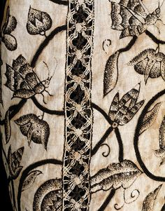 Waistcoat, (made). F, embroidered, English; Black silk on linen. Jacobean Embroidery, Blackwork Embroidery, Historical Costume, Historical Clothing, Medieval Clothing, 17th Century Clothing, Crochet Wool, Textile Texture, Textile Artists