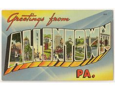 Greetings from Allentown Pennsylvania vintage linen postcard by Postcardigans