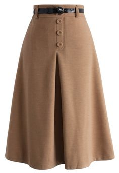 Retro High Waist Full Skirt in Tan - Bottoms - Retro, Indie and Unique Fashion