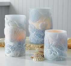 3-pc. LED Seashell Flickering Flameless Candles