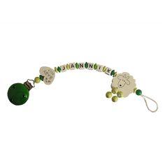 Schnullerkette Schäfchen grün/gelbgrün mit weißem Herz