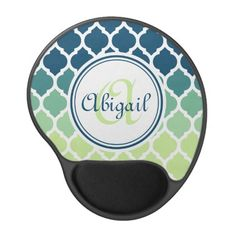 Monogrammed Blue Green Moroccan Lattice Pattern Gel Mouse Pads / Mousepad.  Cute, trendy, girly modern Moroccan lattice trellis pattern in shades of blue, teal and mint green, with a white border. A cool, geometric graphic pattern for women that love stylish patterned gifts. This design features a customizable nameplate for you to personalize your name and monogram.