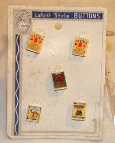 ButtonArtMuseum.com - Vintage Plastic Cigarette Packs Novelty Buttons on Original Card 1930S