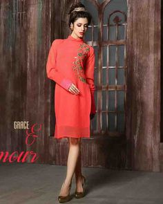 #Readymade #Orange #Georgette #Kurti