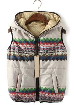 Beige Striped Collar With Hat Thick Down Coat
