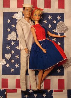 Sailor Ken (?) and Barbie RED WHITE and BLUE FROM: Anyone can be passionate, but it takes real lovers... | sorority sugar