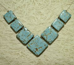 Gold veined faux turquoise - square polymer clay focal tile beads pendant…