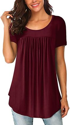 Yidarton Women's Scoop Neck Pleated Blouse Solid Color Tunic Tops Shirts at Amazon Women's Clothing store Casual T Shirt Dress, Plus Size Tops, Short Sleeve Blouse, Long Sleeve, Casual Tops, Scoop Neck, Tunic Tops, Tunic Shirt, Clothes