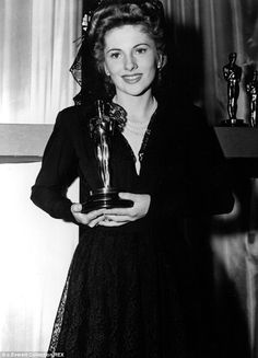 "Joan Fontaine with an Academy Award for ""Suspicion"" (1941)"