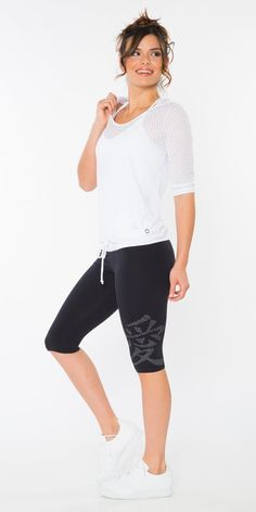 "This beautiful and centering Supplex capri is designed with a 3"" white border around the waist. and Wearing this capri will remind you to feel love and give love throughout your day."