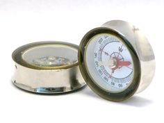 Vintage Style Compass Plugs 1 3/16 to 2 Inch 30mm to 50mm. $40.00, via Etsy.
