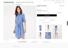 Warehouse Product Details Page - I like this trend for large main product image and showing large product image thumbnails so you can see more details at a glance. #ecommerce #webdesign #ux #ui