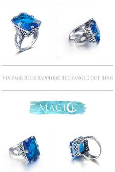 Vintage Blue Topaz Square Cut Ring