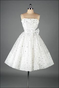 Vintage 1950s dress . white chiffon . silver polka dots . 3133