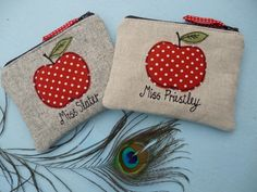 Teacher personalised apple applique gifts - coin purses, lavender bags and lavender keyrings. Teacher personalised apple raw edge applique products, free motion machine embroidery. A commission by Julie Filmer from The Peacock Emporium