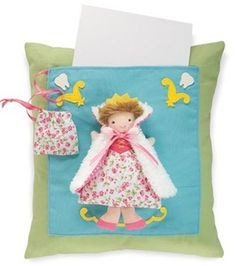 "Tooth Treasure Princess Pillow    Imaginative keepsakes with clever storage compartments for lost teeth and prized treasures take the bite out of growing up!    Removable 4½"" tooth fairy finger puppet detaches from the cape for added play.  Cotton, tricot, fleece, felt and plush with attached tooth bag.    to find this and more great kid accessories visit www.TheShoppingBagStore.com"