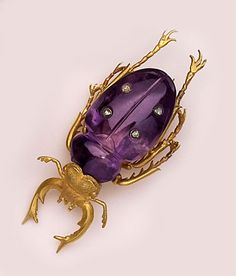 Victorian - Classic carved amethyst, diamond and gold beetle brooch.   The beetle or scarab was the symbol of fertility and eternity.
