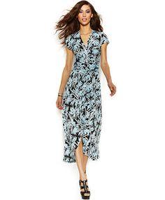 38880a29d3 MICHAEL Michael Kors Printed Wrap-Waist Maxi Dress   Reviews - Dresses -  Women - Macy s