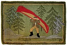 Adirondack Museum Logo 2x3 Green 100 Wool Hand Hooked Rug