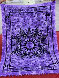 Indian sun wall hanging Bright Sun Tapestry by indiantextile, $19.99
