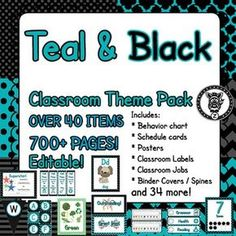 Black & Teal - Classroom Theme / Decor / Organization Mega Bundle. Includes behavior chart, schedule cards, posters, classroom labels, binders, management tools, printable decorations, classroom organization and more!