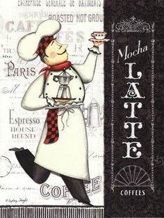 Latte Chef by Sydney Wright art print Kitchen Decor Chef Kitchen Decor, Kitchen Wall Art, Kitchen Prints, Chef Pictures, Kitchen Pictures, Foto Transfer, Le Chef, Decoupage Paper, Coffee Art