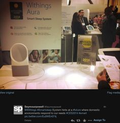"""Seymourpowell (twitter.com/Seymourpowell) tweeted: """" Withings #Smartsleep System hints at a #future where domestic environments respond to our needs #CES2014 #smart pic.twitter.com/Eu0WEn074j """" Learn more: http://www.withings.com/en/aura"""