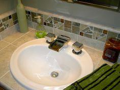 Custom Back Splash in Bathroom designed by Concept Candie Interiors