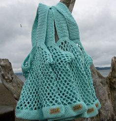 Crochet Market Bag   Bread and Butter Bag in Eggshell by SkyBox, $25.00